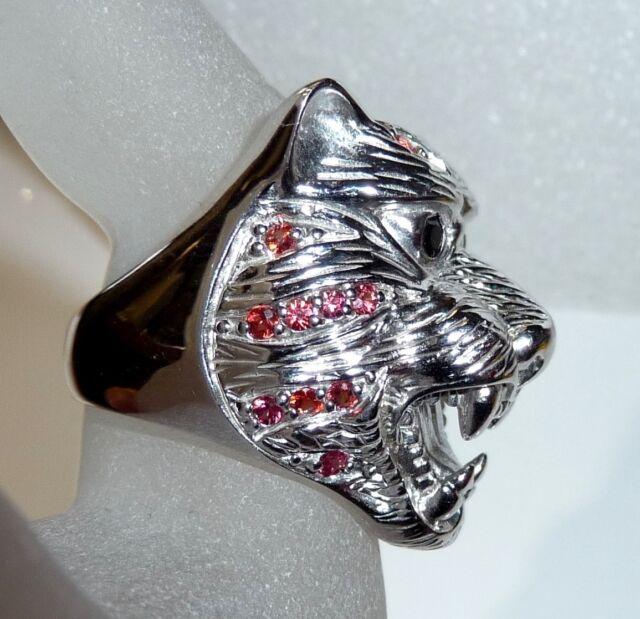 Großer Raubkatzen-Ring Tiger 925 Silber mit roten Saphiren + Onyx 18 g RG 58-59