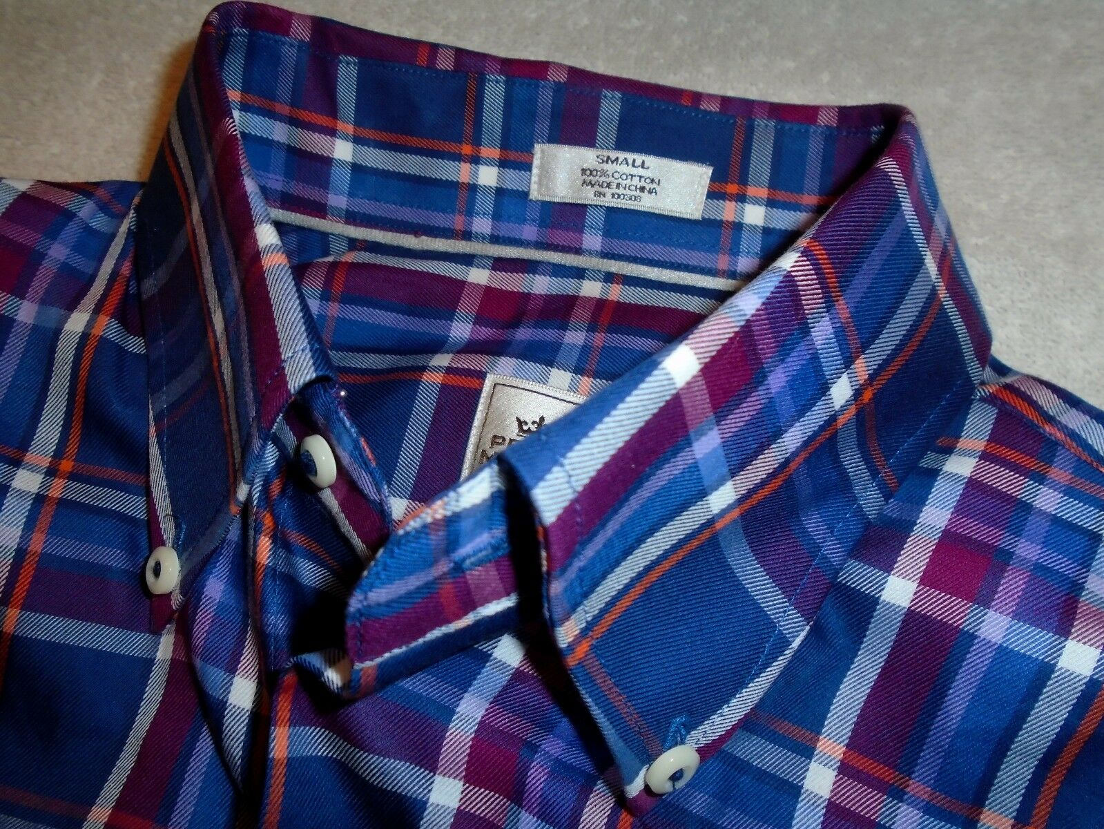 Peter Millar Dark bluee Plaid Button Down Collar Sport Shirt NWT Small