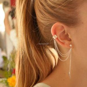 Women-039-s-925-Sterling-Silver-Punk-Chain-Tassel-Dangle-Ear-Cuff-Clip-Wrap-Earrings
