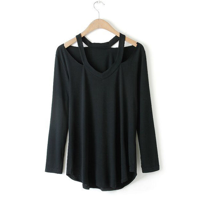New Sexy Women V Neck Cut Out Blouse Long Sleeve Shirt Loose Casual Tops T-Shirt