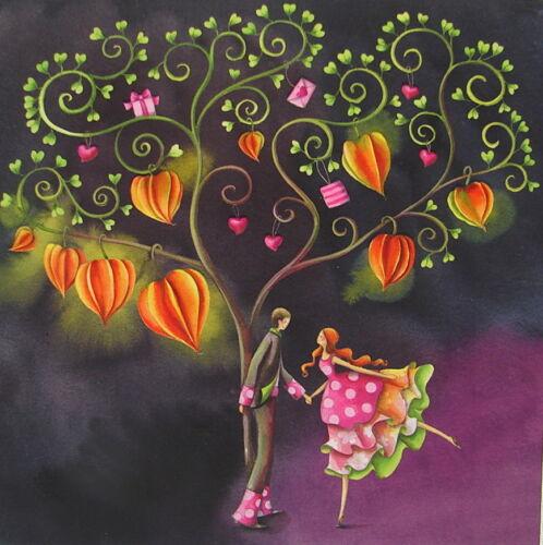 Nina Chen*Postkarte 14x14 EffektLack*Mann*Frau*Lampion-Blumen*Grußkarte*Herbst
