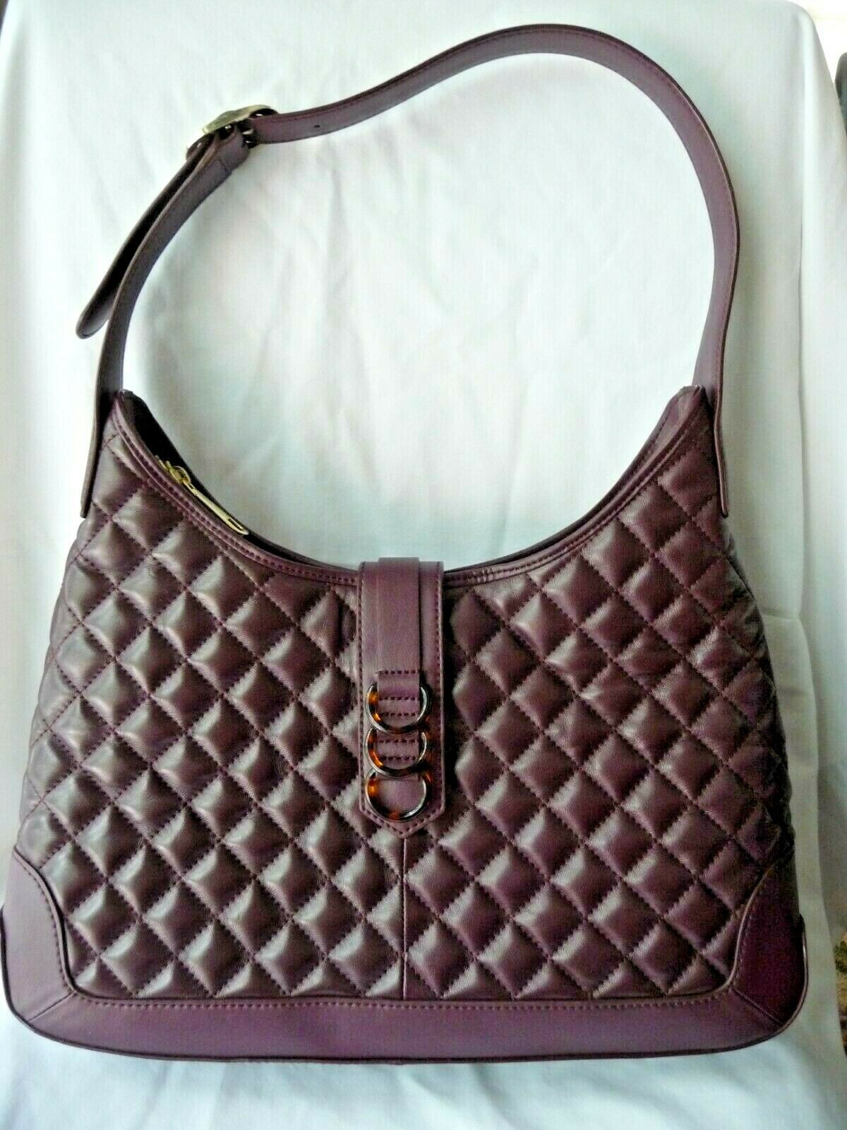 Talbots Purse Shoulder Bag Genuine Leather Maroon Quilted Tortoise Rings Front