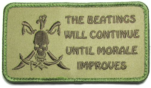 BEATINGS WILL CONTINUE UNTIL IMPROVES PIRATE MULTICAM VELCRO® BRAND FASTEN PATCH