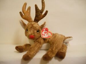 """Ty Beanie Baby """"Rudy"""" 7 Inch ***RED NOSE*** Stuffed Toy Reindeer (All Tags)"""