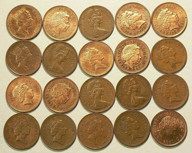1971 to 2000 Great Britain UK Penny Lot of 20 Some Duplicates #6767