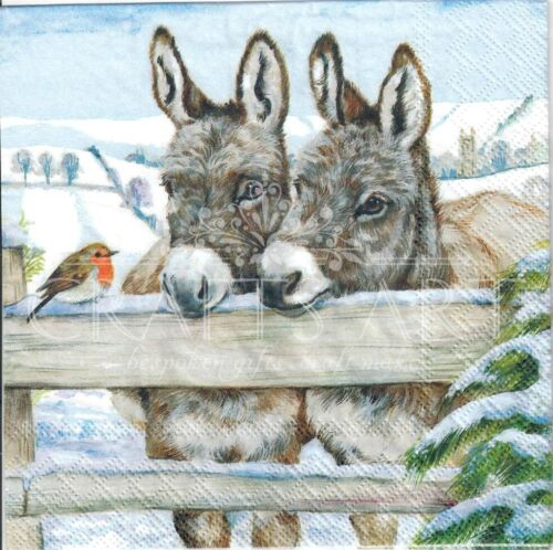 robin 4 Single paper decoupage napkins X158 Christmas Donkeys in a stable