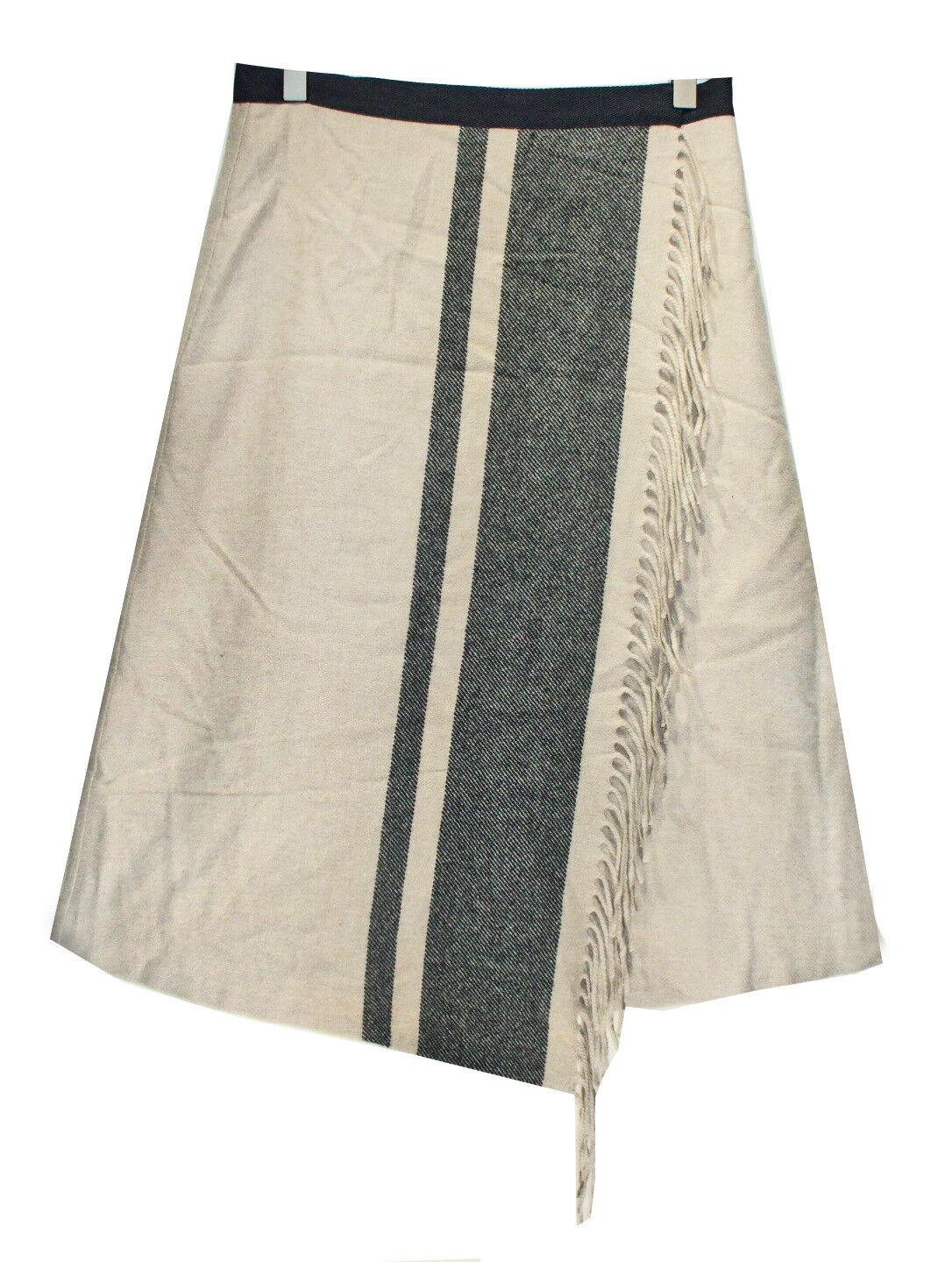 NEW MAX MARA Sand Striped WRAP SKIRT sz 6 Wool Blend
