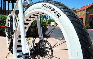 "White Wall 26""x3"" DURO BEACH BUM Cruiser Bike Rat Rod tire set - 2 tires"
