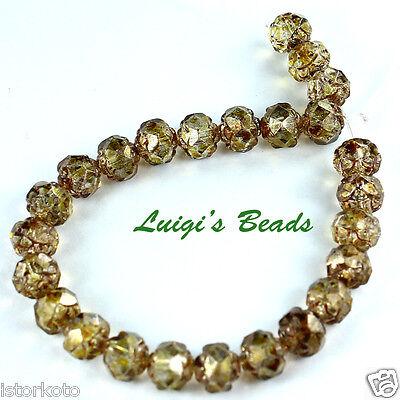 25 Luster-Transparent Gold Topaz Czech Firepolish Glass Small Rosebud Beads 5mm