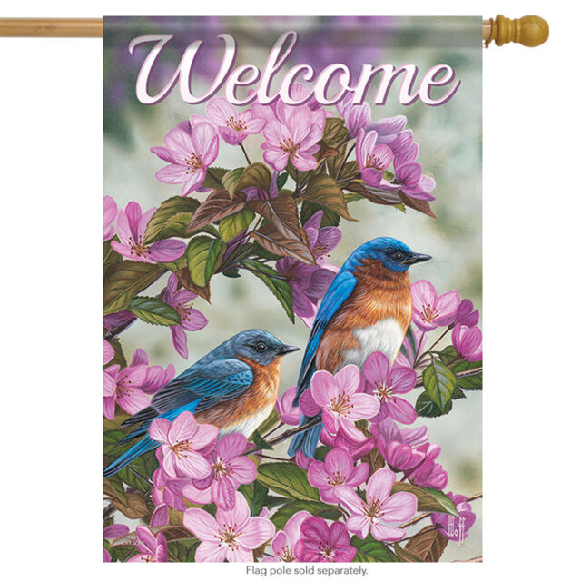 """Dahlia Garden Spring Welcome House Flag Butterfly Floral 2 Sided Banner  28/""""x40/"""""""