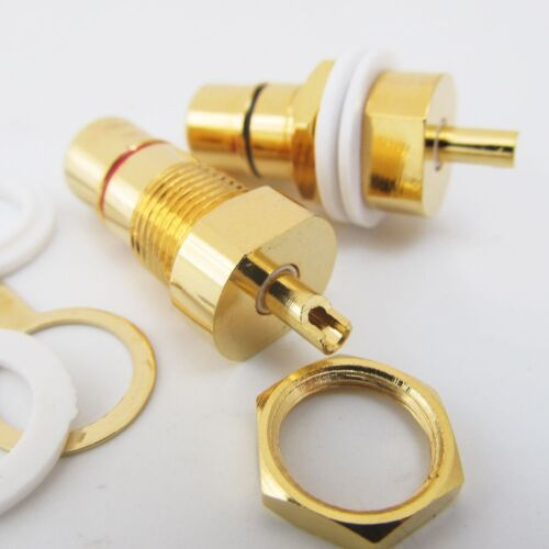 10 x CMC Gold Plated Copper RCA Female Phono Jack Panel Mount Chassis Connector