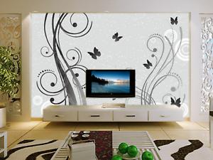 3D greyer Schmetterling Baum 45 Tapeten Mauer Foto Familie Tapete Wandgemälde