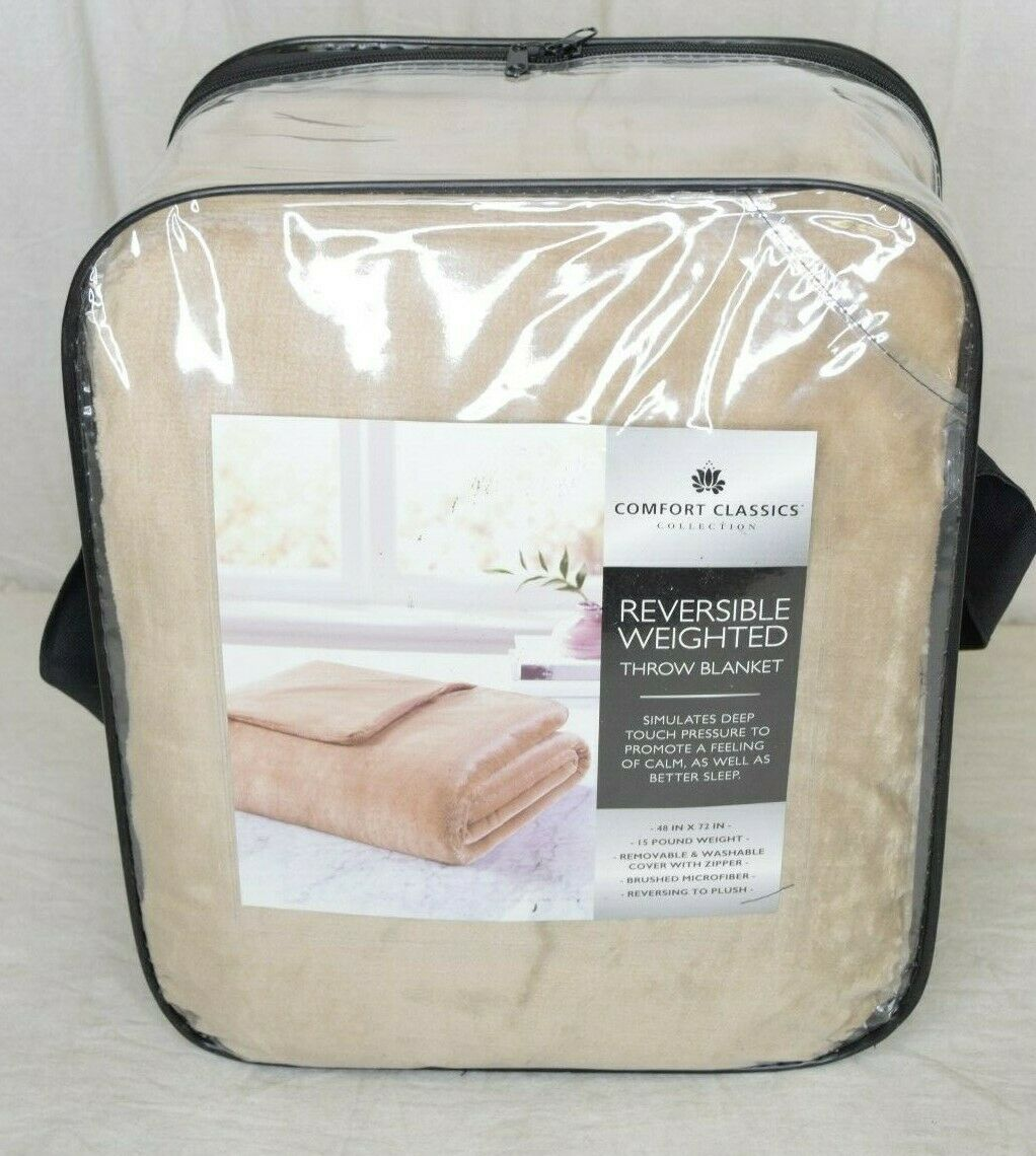 Comfort Classics Weighted Throw Blanket W  Removable Cover Tan Brand New