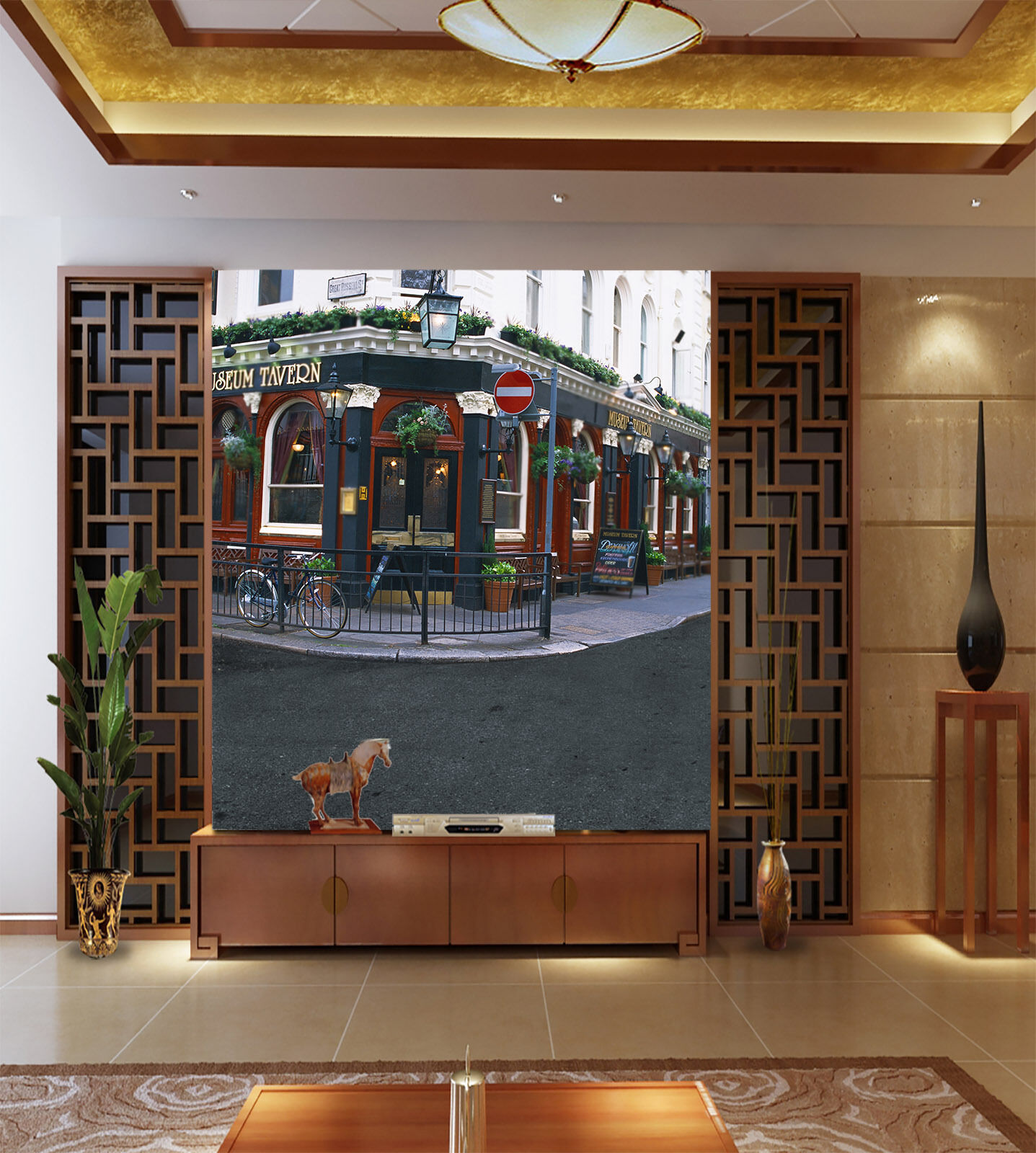 3D Coffee Shop Bicycle Paper Wall Print Wall Decal Wall Deco Indoor Murals
