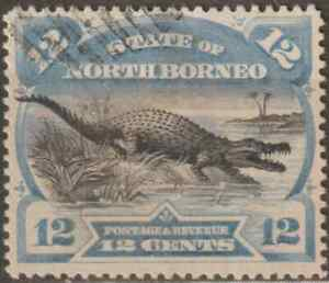 NORTH-BORNEO-1894-PICTORIAL-12c-CROCODILE-CTO-CAT-RM-400-AS-POSTALLY-USED