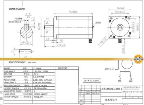 AC/&DC Treiber DE Free Nema34 34HS5460D14L34J5-1 12Nm 150mm 6A φ14mm+DM860H
