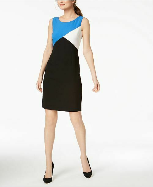 7b21c3c1eabde Calvin Klein Women's Blue White Black Color Blocked Dress Petite Size 4p  for sale online | eBay