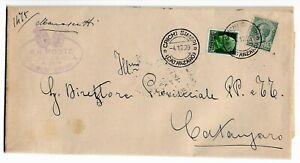Storia-Postale-mista-Leoni-Imperiale-per-Catanzaro-1929