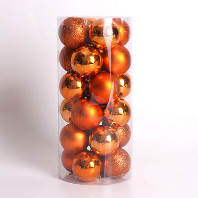 24PCS 60mm 40mm 30mm Christmas Tree Baubles Plain Glitter Xmas Ornaments Ball