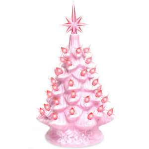 Pink-Hand-Painted-Ceramic-Tabletop-Pre-Lit-Christmas-Tree-Lights-Star-Topper-New