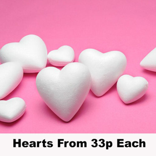 Polystyrene Hearts Solid 70mm or 100mm Crafts Wedding Valentine
