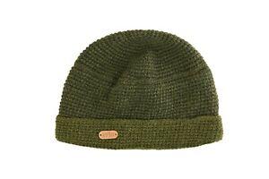 Erin Knitwear Green Crochet  Turn Up Cap