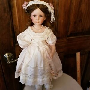 Vintage-Silk-Doll-Dress-and-hairpiece-for-a-22-034-23-034-Doll-with-matching-Baby-Doll