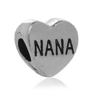 Nana Heart Grandmother Grandmom Word Spacer Charm for European Slide Bracelets Fashion Jewelry for Women Man