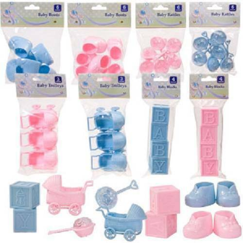 Large Blue /& Pink Baby Shower Favors booties rattles blocks carriages--U PICK 1