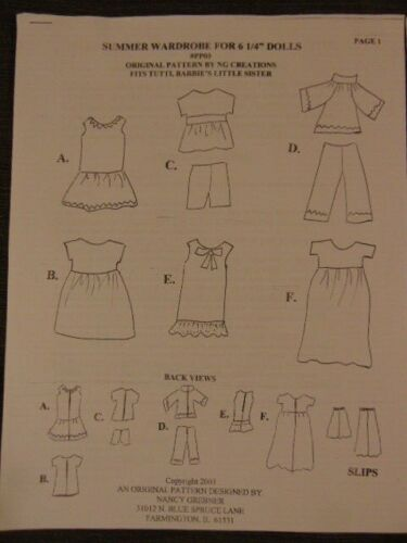 """NG Creations TWO Doll Clothing Sewing Patterns fit vintage 6/"""" Tutti  Todd Dolls"""