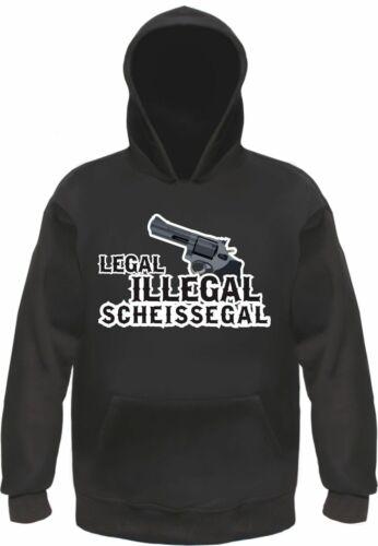 Schwarz Mit Motiv Revolver legal illegal scheissegal Sweatshirt oder Hoodie