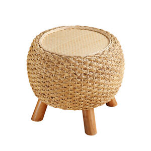 Awesome Details About Round Foot Stool Shoe Ottoman Wooden 3 Leg Rattan Dressing Makeup Wicker Pouf Creativecarmelina Interior Chair Design Creativecarmelinacom