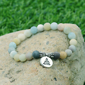 Matte-Amazonite-Stone-OM-Lotus-Buddha-Yoga-Men-Women-Bracelet-Chakra-Mala-Beads