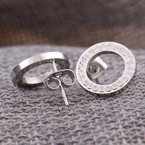 Nouveau-en-acier-inoxydable-en-argent-cercle-cristal-strass-boucles-d-039-oreilles