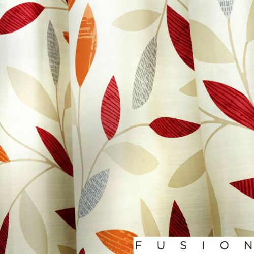 Fusion Beechwood Floral Feuille 100/% Coton Entièrement doublé Oeillet Rideaux Rouge