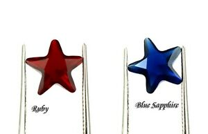 Gemstone Pair 3.10 Ct/8 mm Natural Star Shape Blue Sapphire & Ruby AGI Certified