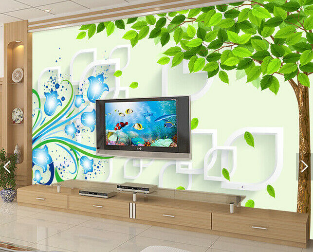 3D Tree bluee Flower 8 Wall Paper Murals Wall Print Wall Wallpaper Mural AU Lemon