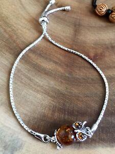 925 Real Amber Butterfly Adjustable Slider Bracelet Sterling Silver