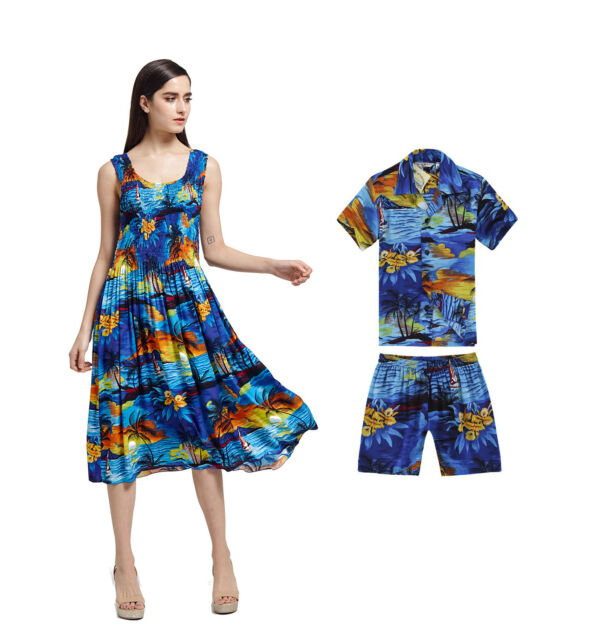 ae894125e6fb Mother Son Matching Hawaiian Luau Party Dance Dress Tank Elastic Sunset Blue