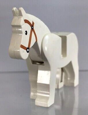 Mini Figures Animal LEGO White Horse with Moveable Back Legs And Black Bridle
