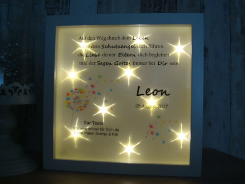 LED Bild beleuchtet Taufe Geburt Pusteblume Baby m.Namen Datum Kinderzimmer
