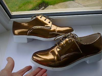 Ladies TopShop Bronce Con Cordones Zapatos Talla 7 (EUR 40) del Reino Unido