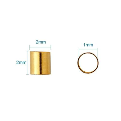 1500pcs//Box Brass Crimp Tube Beads Spacer Cord Lined Cover Mini Clamp Tips 2x2mm