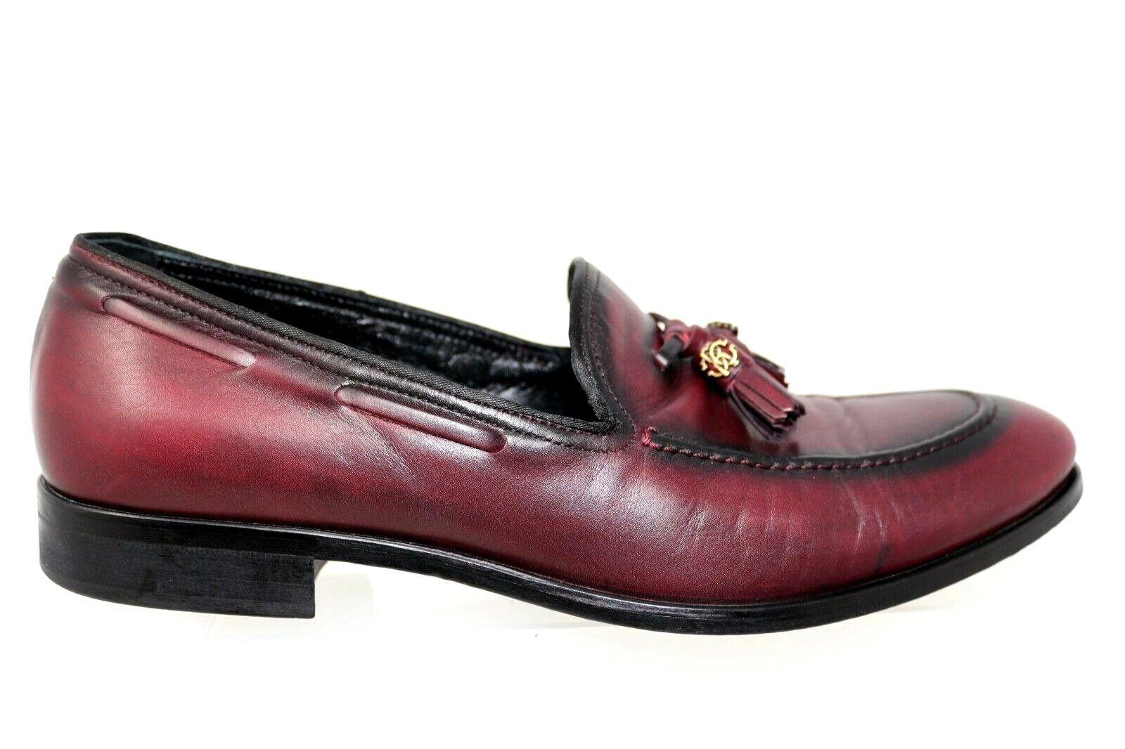Roberto Cavalli 1303 Borgoña Mocasín Cuero Moc puntera de vestir Zapatos para hombre 42 US 10