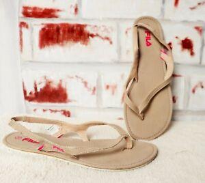 Details zu Braune Beige Fila Flip Zehen & Sandalen Sandaletten Sand Beige  38 UK 5