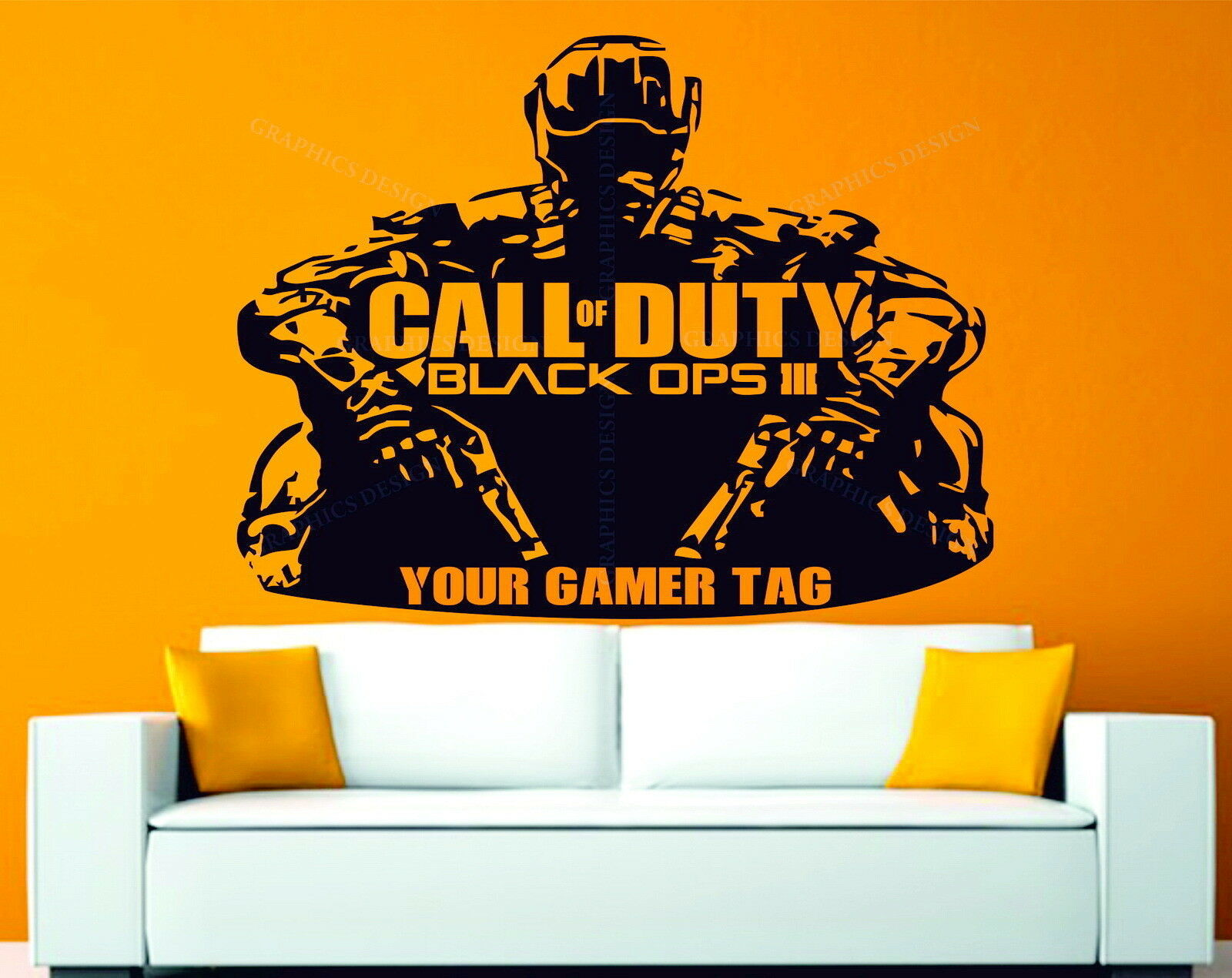 call of duty black ops 3 personalised gamer tag decor vinyl wall