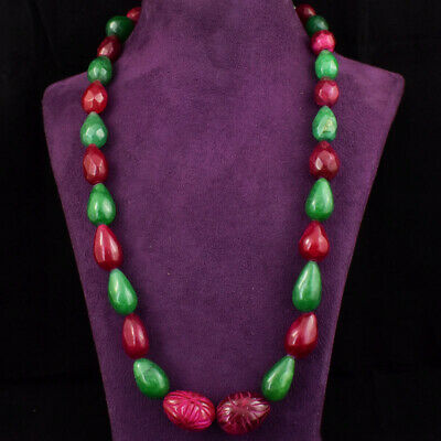 535.00 CTS EARTH MINED RICH GREEN EMERALD PEAR FACETED BEADS NECKLACE STRAND