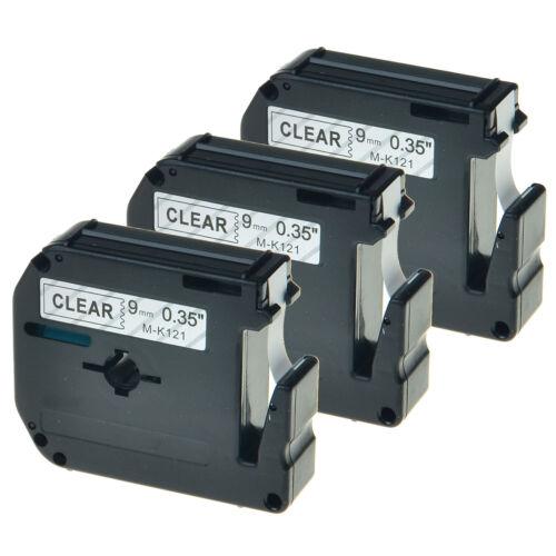 3x Schriftband kompatibel mit Brother Schwarz\Clear MK121 M-K121 9mm PT-80 90