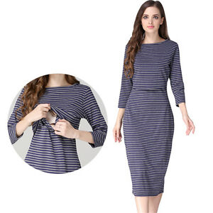 Maternity Dresses Striped Nursing Clothes Breastfeeding Dress XS ...