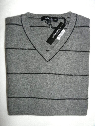 Gray S Fifth Avenue Sweater V Saks Nwt Nevk 450 Hombres Stripes Pequeño 100 Cashmere gq47XH6wX